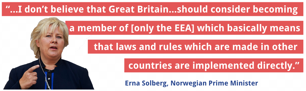 Erna Solberg, Norwegian Prime Minister on EEA model for uK
